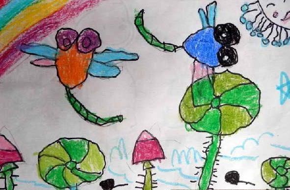 蜻蜓-蜡笔画图集10