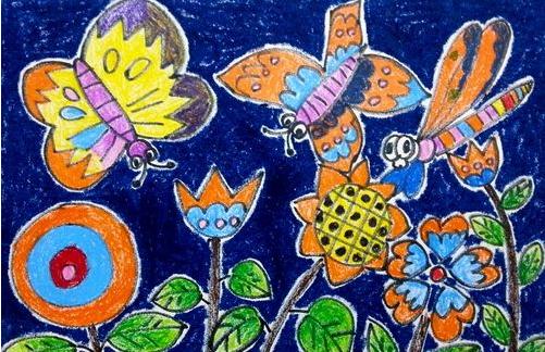 蝴蝶-蜡笔画图集4