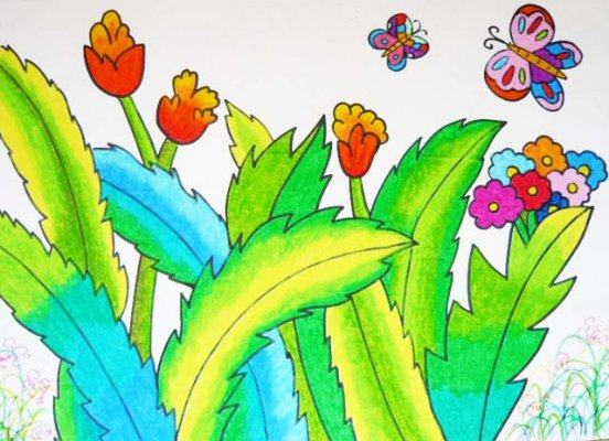 蝴蝶-蜡笔画图集图片_儿童蜡笔画_少儿图库_中国儿童图片