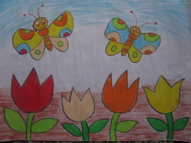 蝴蝶-蜡笔画图集6