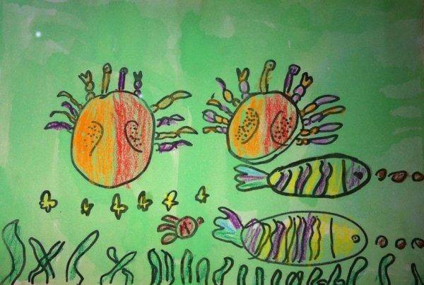 螃蟹-蜡笔画图集