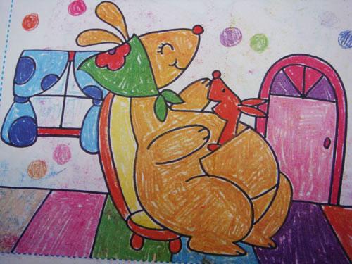 袋鼠-蜡笔画图集