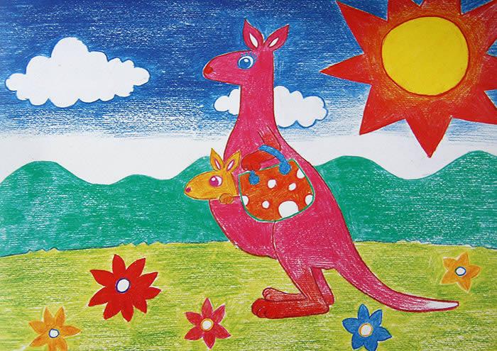 袋鼠-蜡笔画图集2
