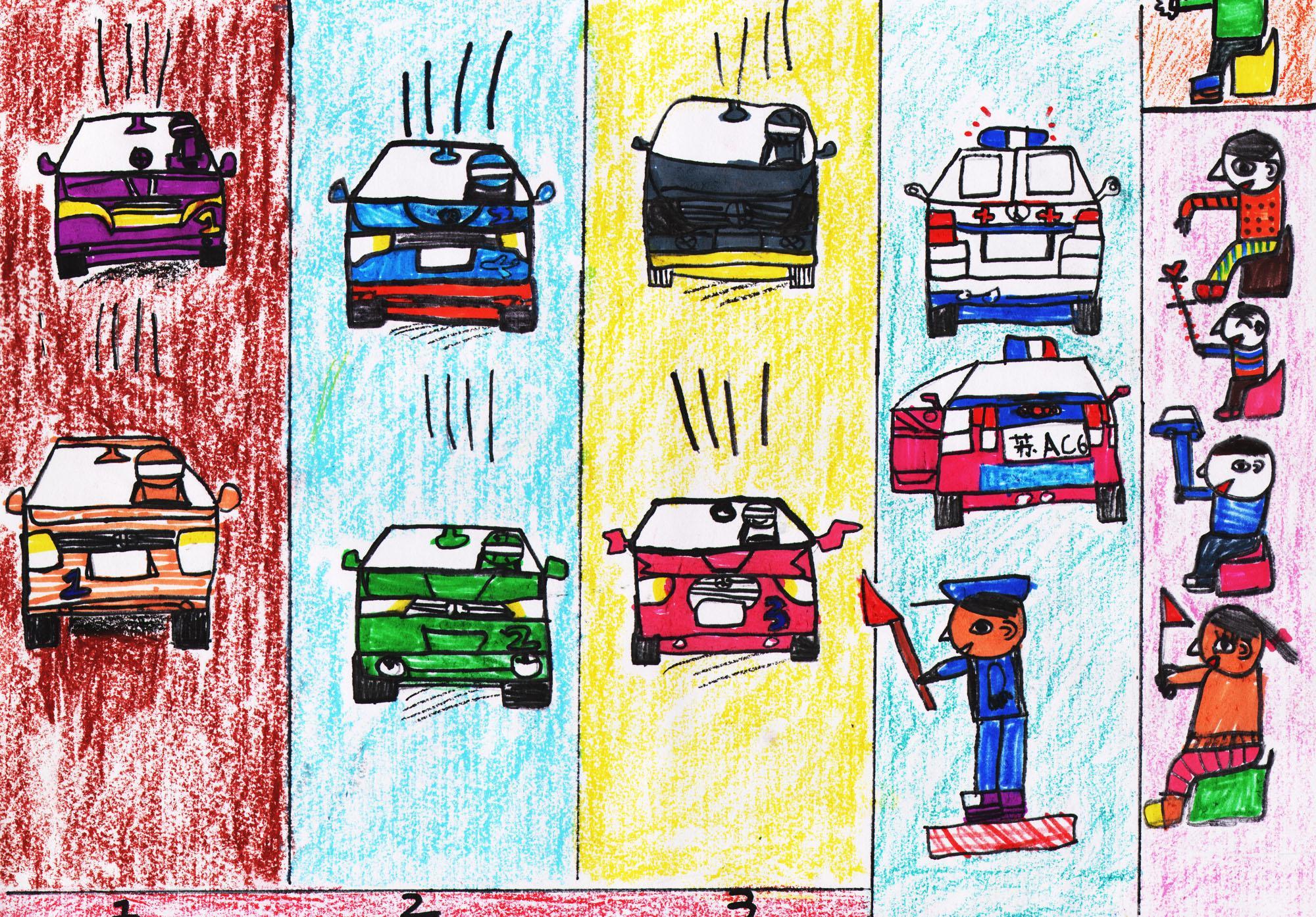 赛车-蜡笔画图集