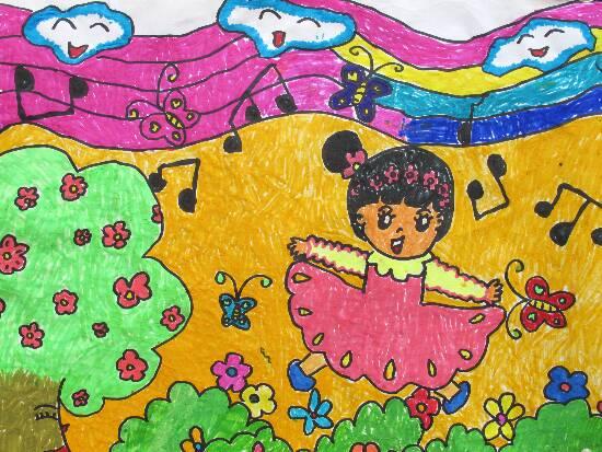 跳舞-蜡笔画图集2