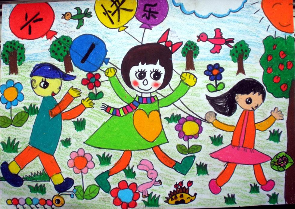 跳舞-蜡笔画图集3