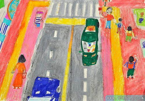 过马路-蜡笔画图集2