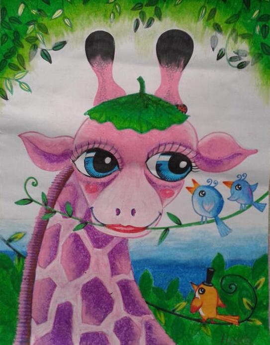 长颈鹿-蜡笔画图集2