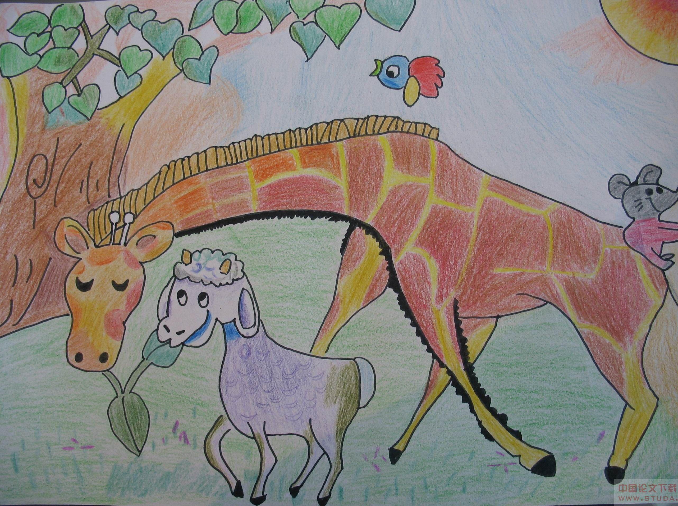 长颈鹿-蜡笔画图集3