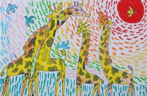 长颈鹿-蜡笔画图集4