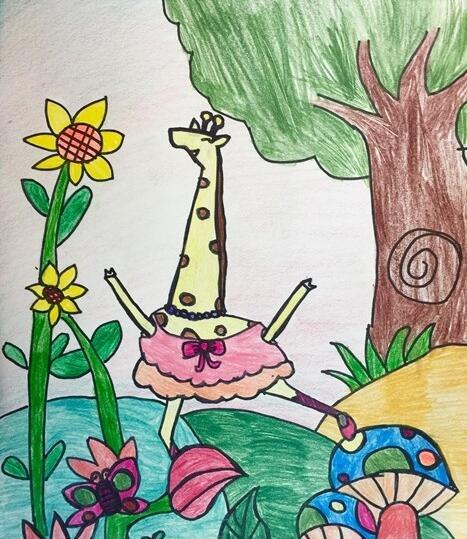 长颈鹿-蜡笔画图集5