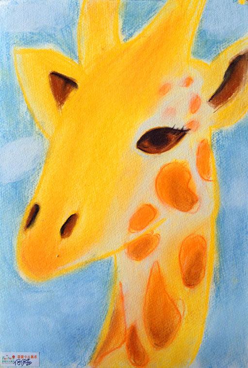 长颈鹿-蜡笔画图集6