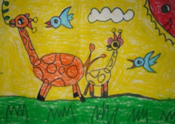 长颈鹿-蜡笔画图集7