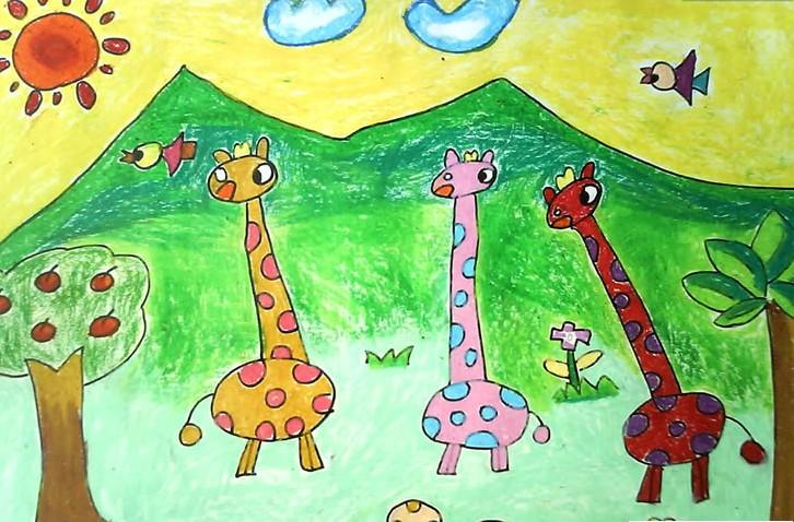 长颈鹿-蜡笔画图集8