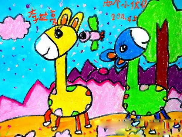 长颈鹿-蜡笔画图集9