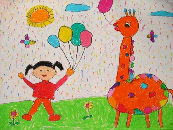 长颈鹿-蜡笔画图集10