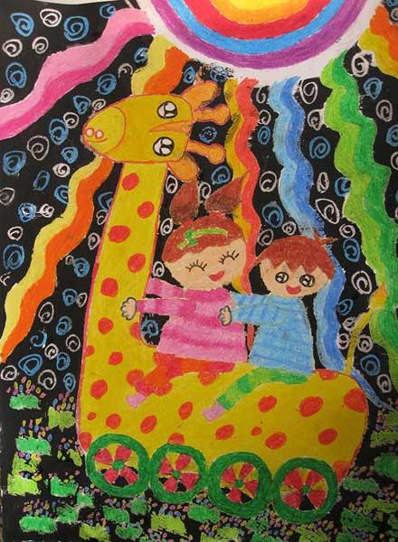 长颈鹿-蜡笔画图集11
