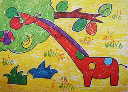 长颈鹿-蜡笔画图集12