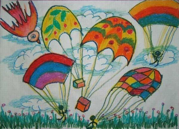 降落伞-蜡笔画图集2