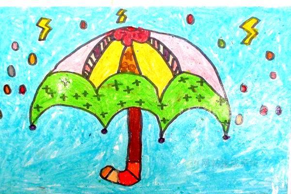 雨-蜡笔画图集