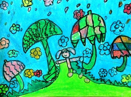 雨-蜡笔画图集2