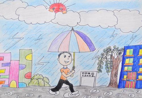 雨天-蜡笔画图集2