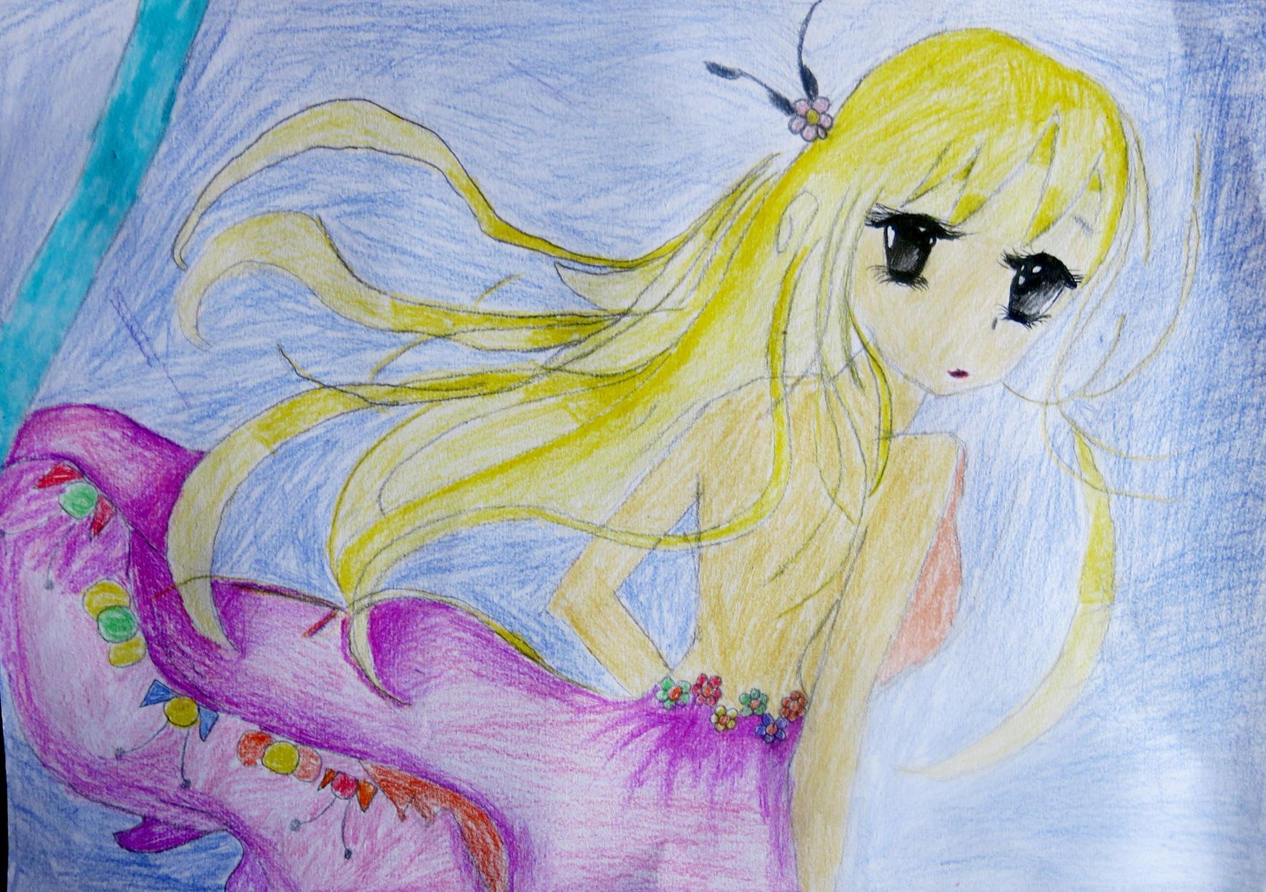 青春美少女-蜡笔画图集