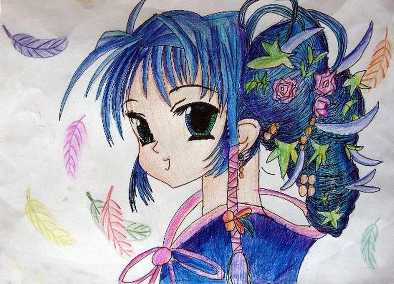 青春美少女-蜡笔画图集2