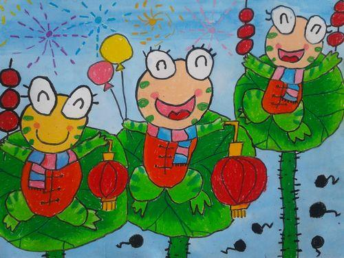 青蛙-蜡笔画图集2