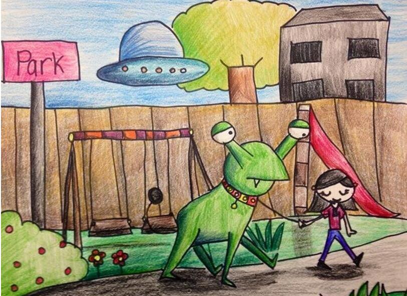 青蛙-蜡笔画图集5