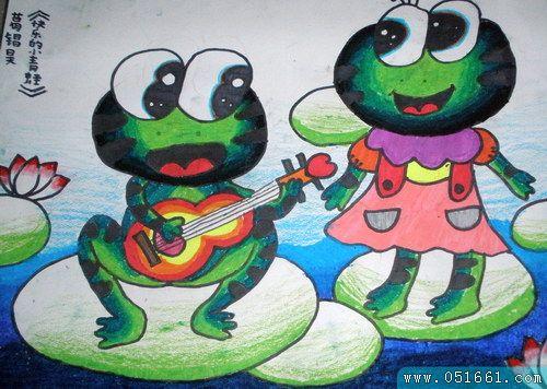 青蛙-蜡笔画图集6