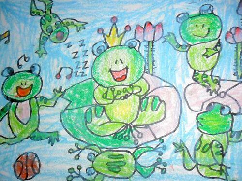 青蛙-蜡笔画图集7