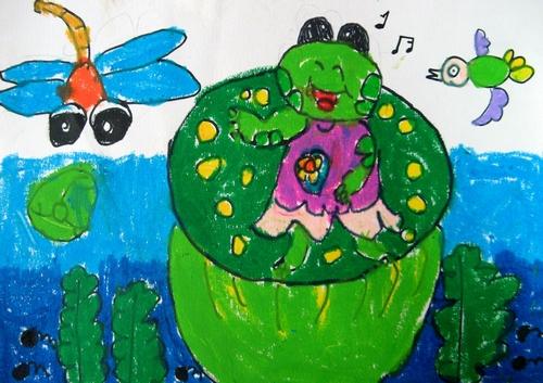 青蛙-蜡笔画图集8