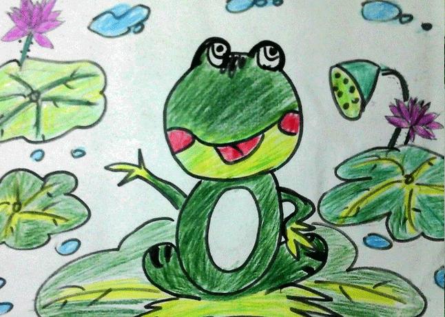 青蛙-蜡笔画图集11