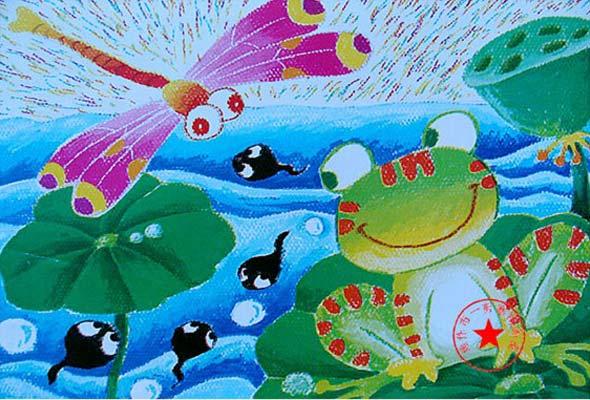 青蛙-蜡笔画图集12