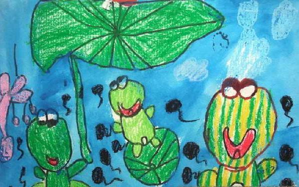 青蛙-蜡笔画图集13