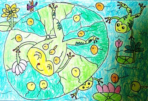 青蛙-蜡笔画图集14