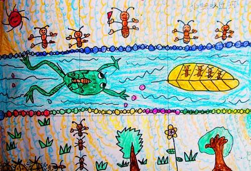 青蛙-蜡笔画图集15