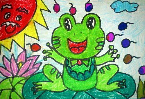 青蛙-蜡笔画图集16