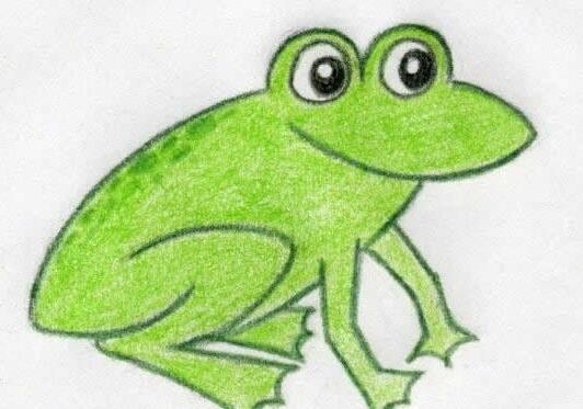 青蛙-蜡笔画图集17