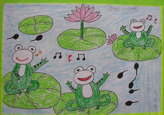 青蛙-蜡笔画图集18