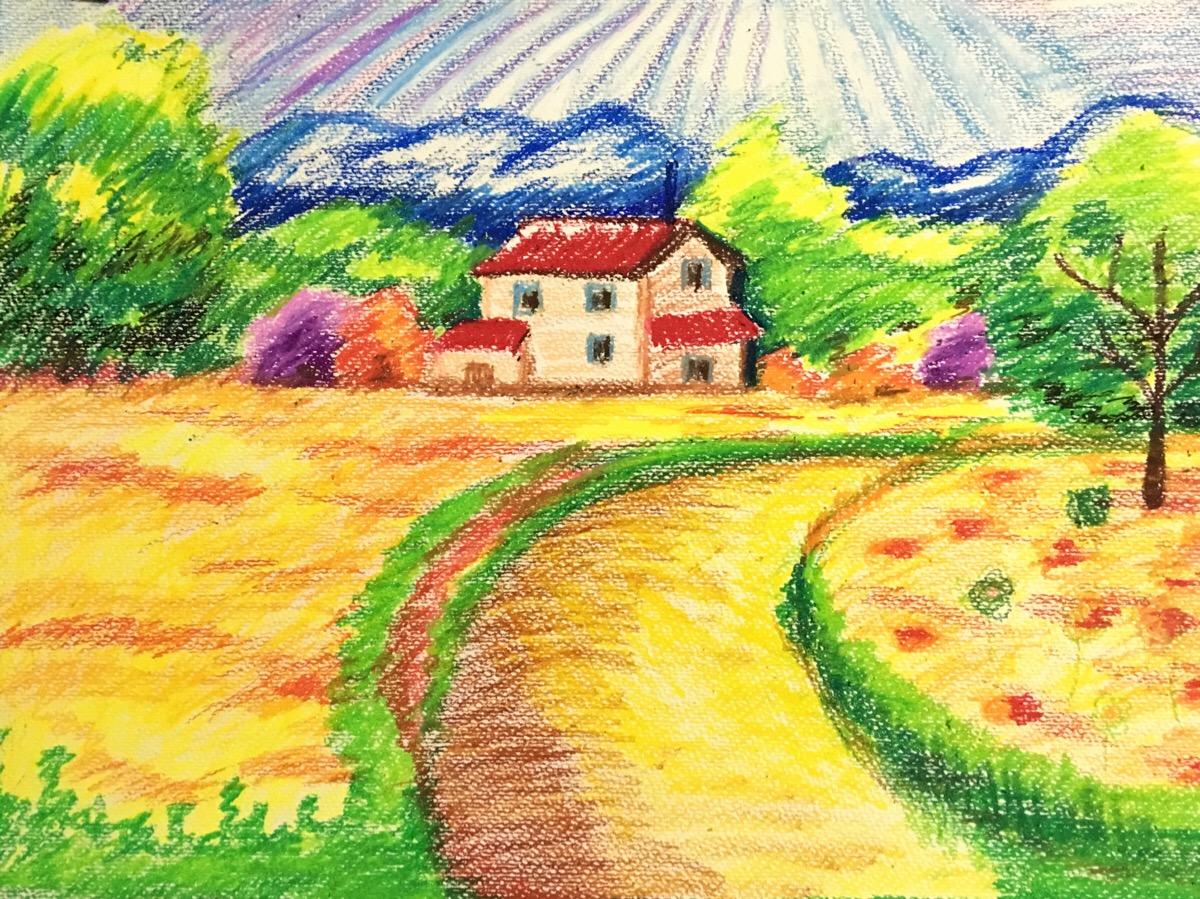 风景-蜡笔画图集12