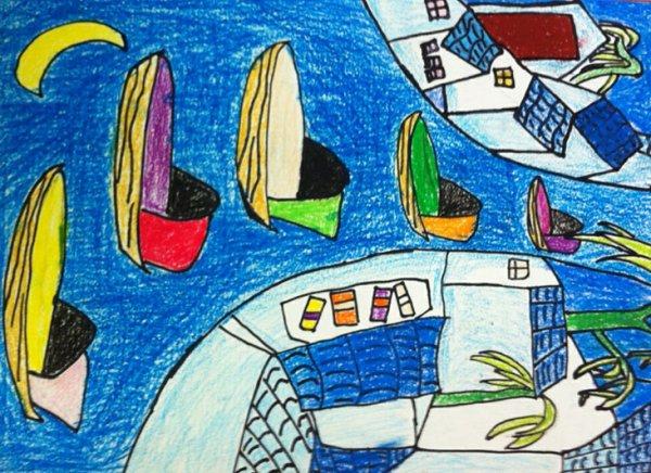 风景-蜡笔画图集16