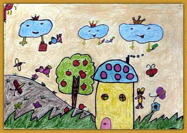 风景-蜡笔画图集24