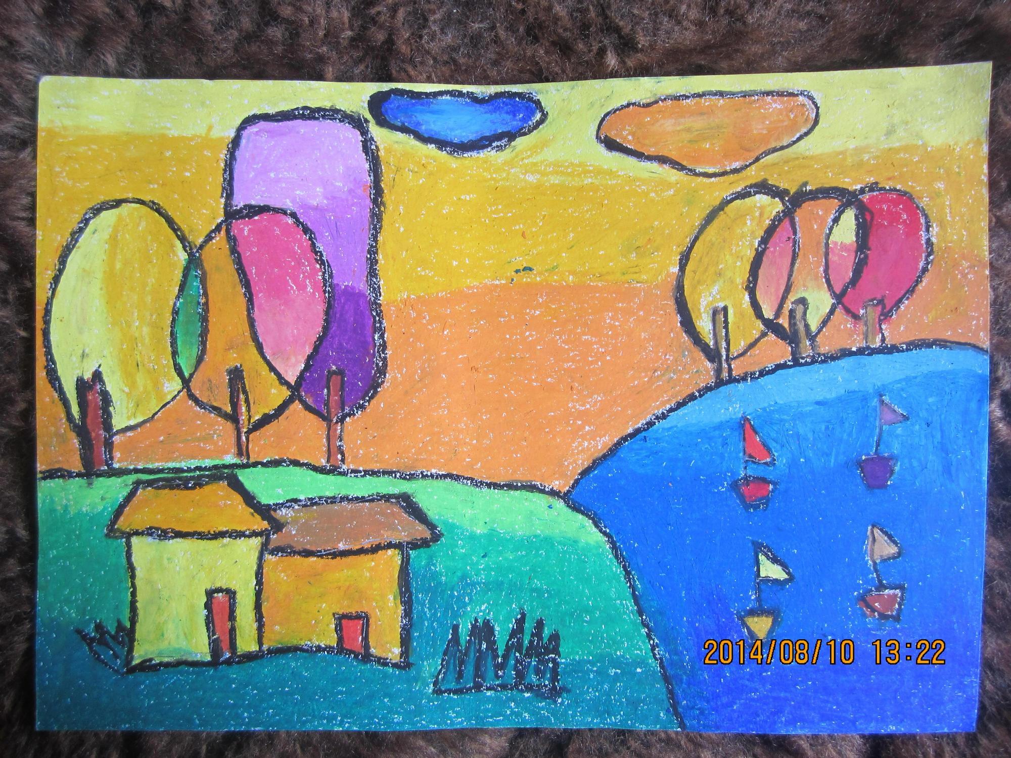 风景-蜡笔画图集27