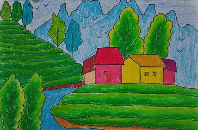 风景-蜡笔画图集28