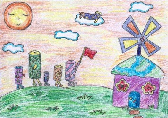 风车-蜡笔画图集