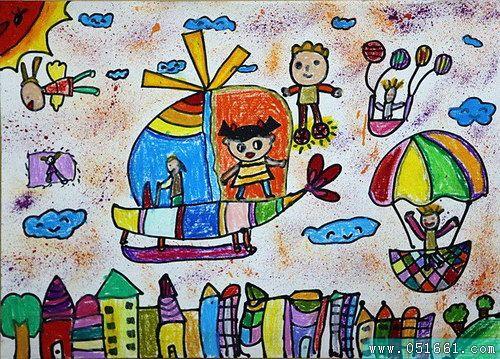 飞机-蜡笔画图集图片_儿童蜡笔画_少儿图库_中国儿童
