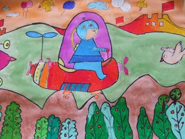 飞机-蜡笔画图集10
