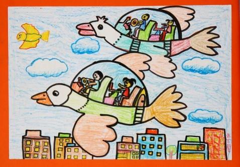 飞机-蜡笔画图集11